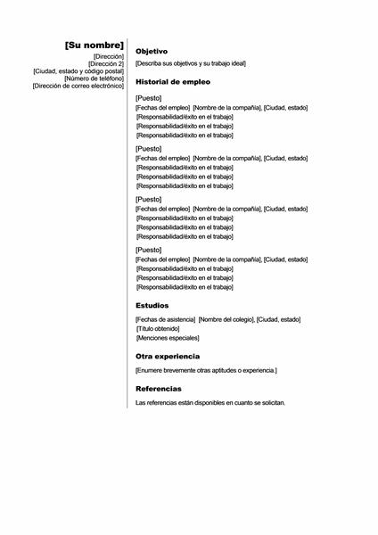 Currículo cronológico (Tema vertical)