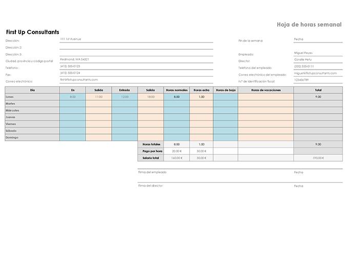 Hoja de horarios semanal (8 1/2 x 11, horizontal)