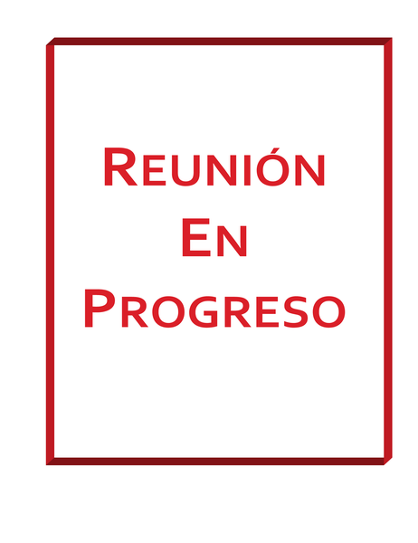 Cartel de «Reunión en curso»