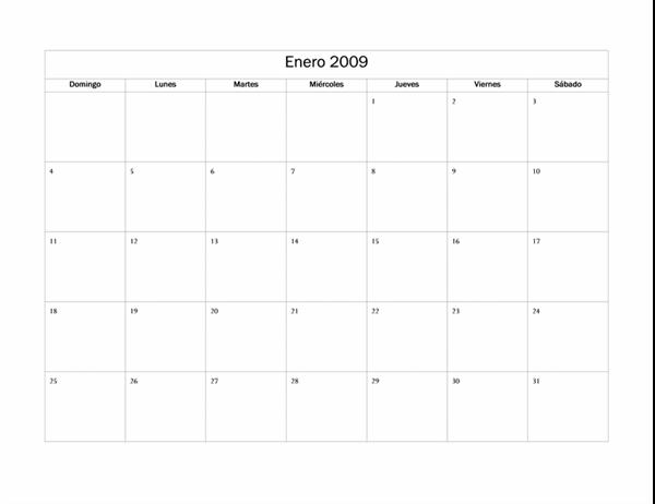 Calendario de 2009 (diseño básico)