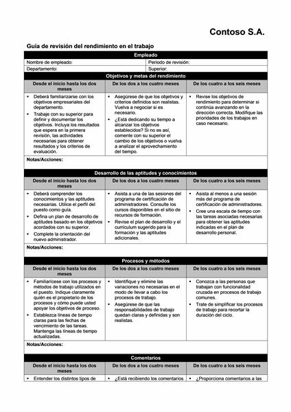Guía de revisión del rendimiento en el trabajo