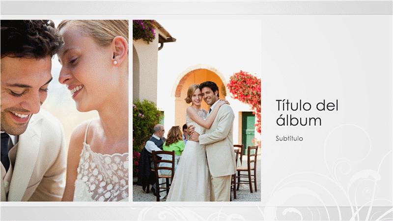 Álbum fotográfico de boda, diseño barroco en plata (pantalla panorámica)