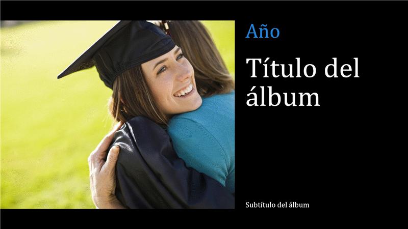 Álbum fotográfico de graduación, negro (pantalla panorámica)