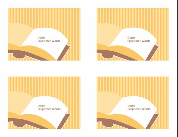 Tarjetas de aprendizaje de vocabulario (palabras visuales básicas de Dolch; revés; funciona con Avery 3263, 8387)