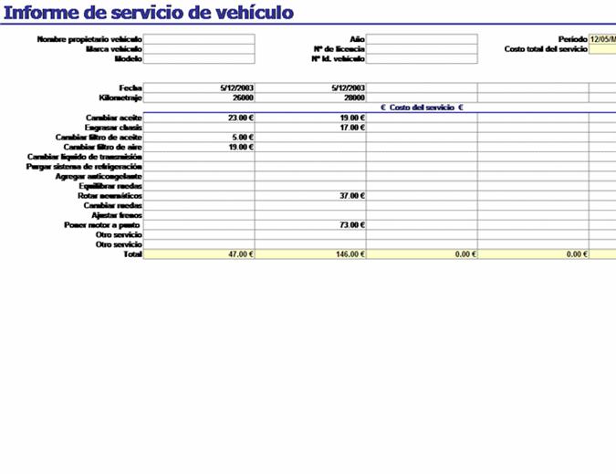 Informe de servicio de vehículo