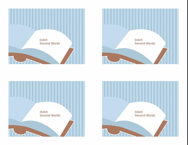 Tarjetas de aprendizaje de vocabulario (segundas palabras visuales de Dolch; revés; funciona con Avery 3263, 8387)