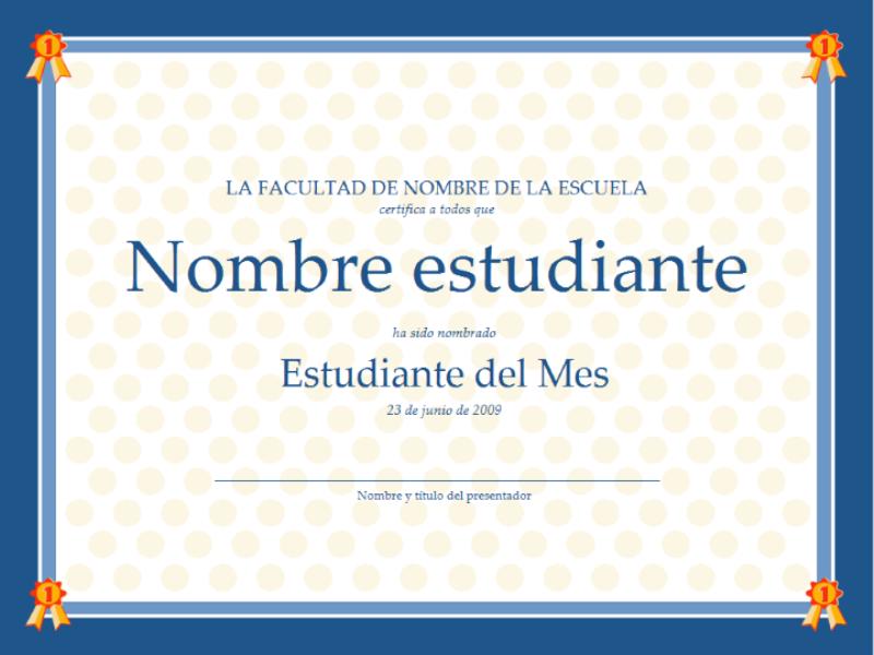 Certificado para el estudiante del mes