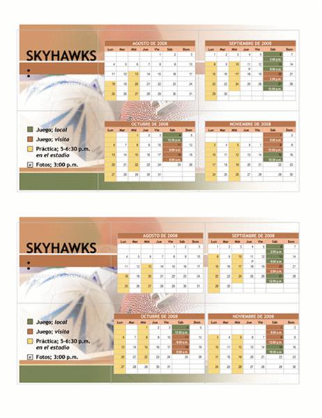 Calendario de bolsillo 2008 para deportes juveniles (meses de otoño)