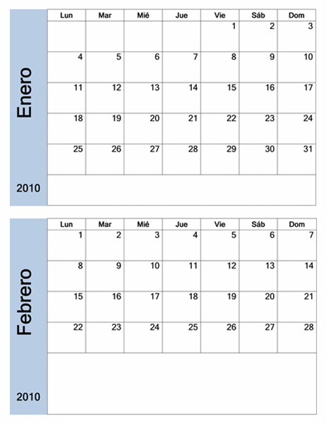 Calendario de 2010 con borde azul (6 páginas, lunes a domingo)