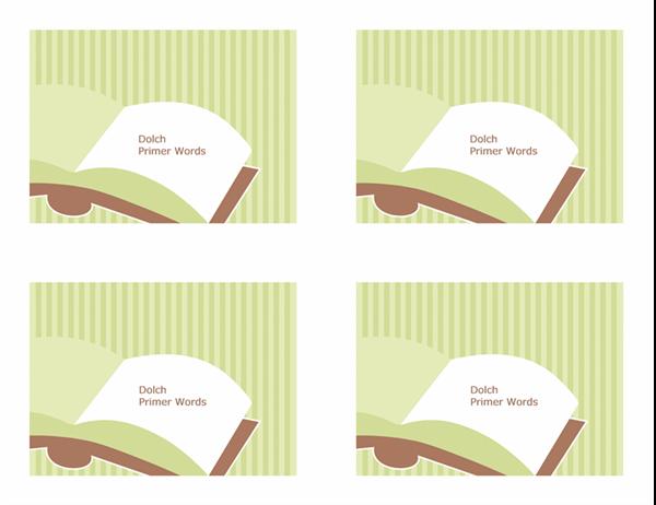 Tarjetas de aprendizaje de vocabulario (palabras visuales elementales de Dolch; revés; funciona con Avery 3263, 8387)