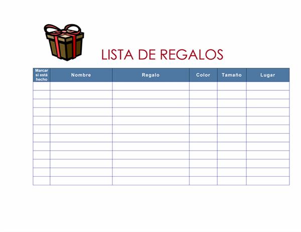 Lista de la compra de regalos