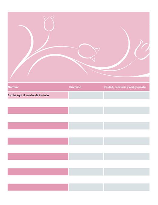 Lista de invitados a la boda (con tulipanes)