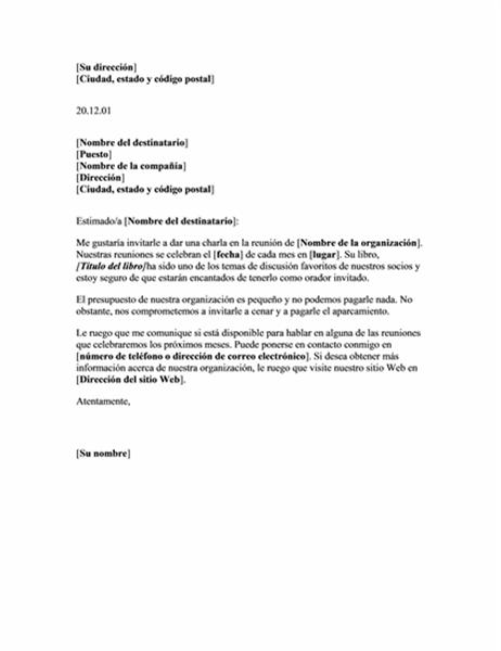Carta solicitando un orador no retribuido para una reunión