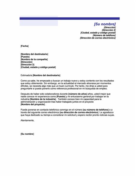 Solicitud de referencias de un compañero de trabajo (Tema de línea azul)
