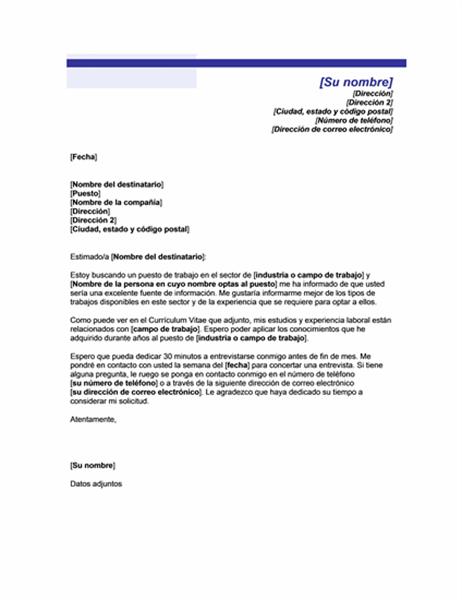 Solicitud para una entrevista informal (Tema de línea azul)