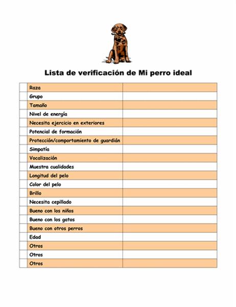 Lista de verificación de Mi perro ideal