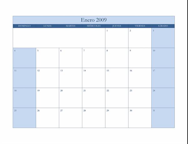 Calendario de 2009 (diseño azul clásico)