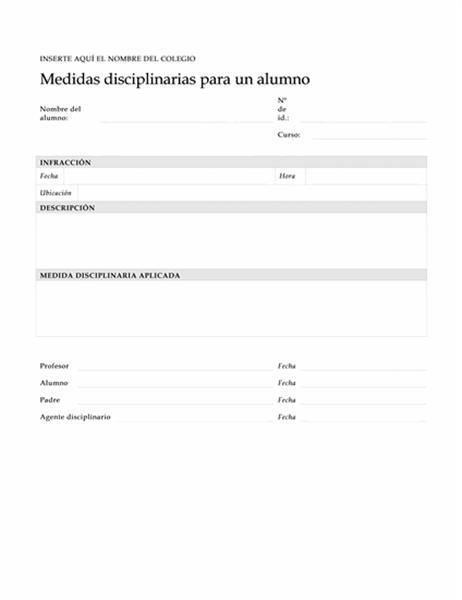 Formulario de medidas disciplinarias para un alumno