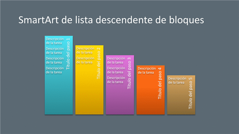Diapositiva SmartArt de lista descendientes de bloques (multicolor sobre gris), panorámica