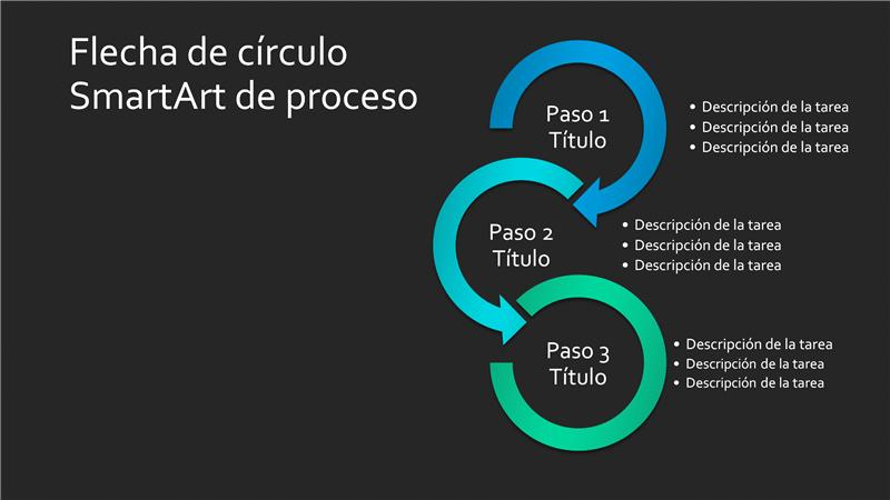 Diapositiva SmartArt de proceso de círculos con flecha (azul-verde sobre negro), panorámica