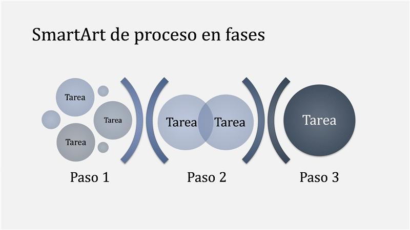 Elemento de SmartArt de proceso en fases (azul oscuro/claro), panorámico