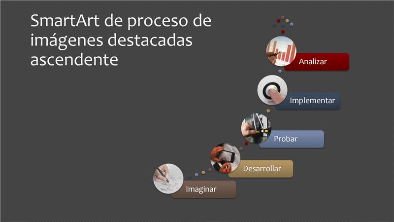 Proceso de imágenes destacadas ascendente de SmartArt (varios colores sobre gris), pantalla panorámica