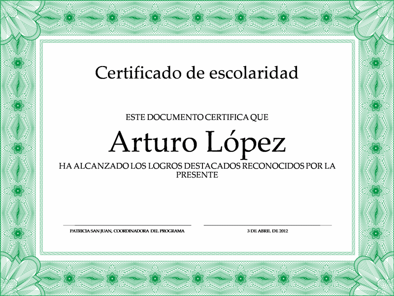 Certificado de Escolaridad (borde formal verde)