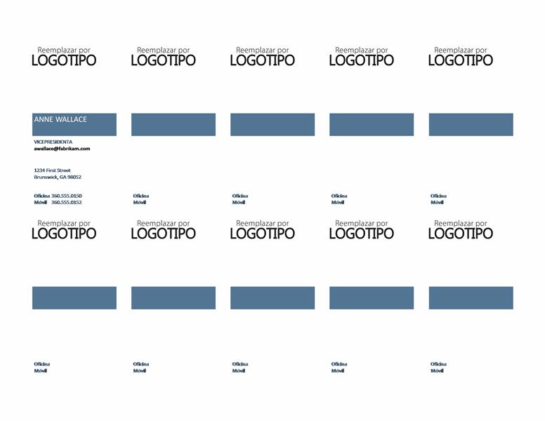 Tarjetas de presentación, diseño vertical con logotipo y texto alineado a la izquierda