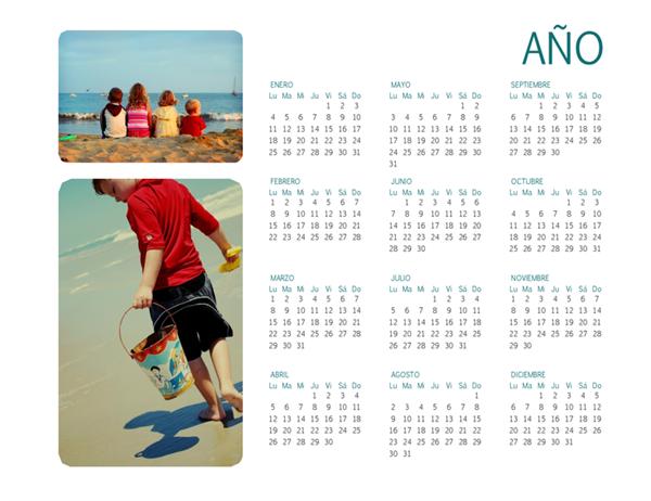 Calendario fotográfico familiar (para cualquier año, 1 página)