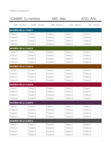 Calendario de tareas semanal