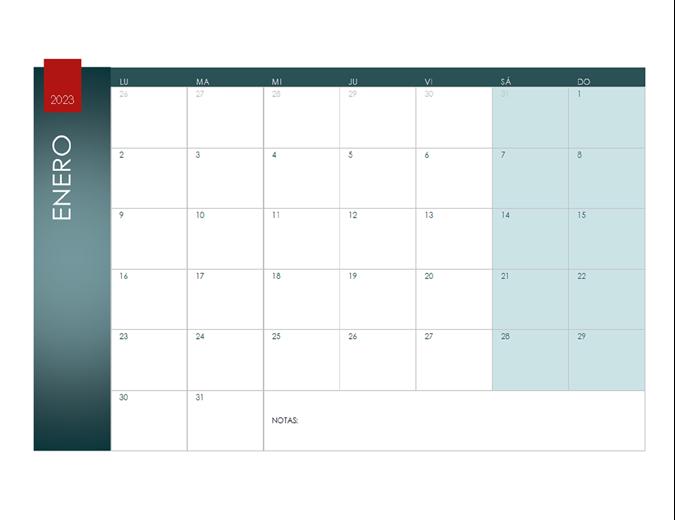 Calendario para cualquier año (tema Ion)
