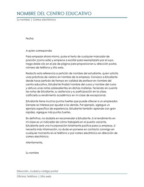 Carta de referencia de profesor