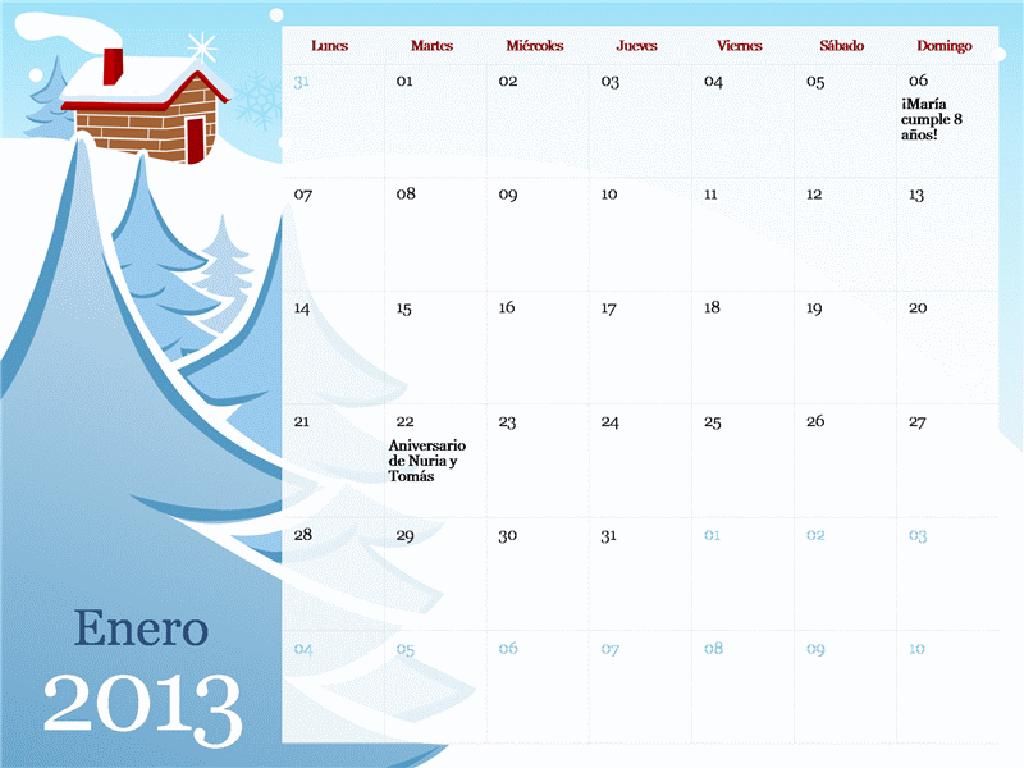 Calendario estacional ilustrado de 2013, Lun-Dom