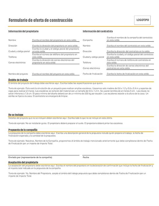 Formulario de ofertas de construcción