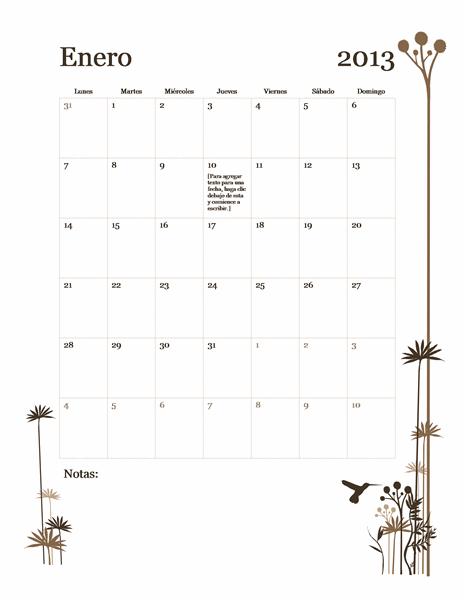 Calendario de 2013 de 12 meses (lun-dom)