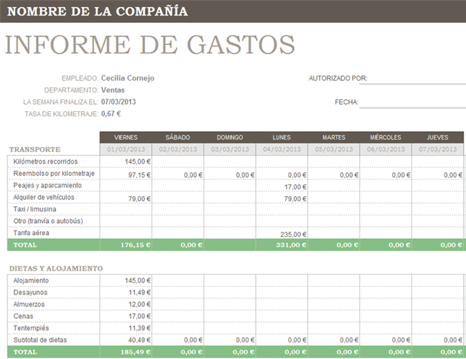 Informe de gastos - Office Templates
