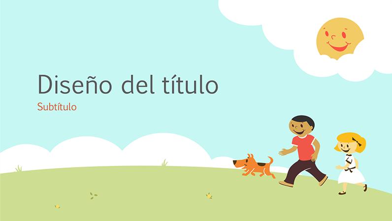 Diseño de presentación para el ámbito educativo de unos niños jugando (ilustración animada, pantalla panorámica)