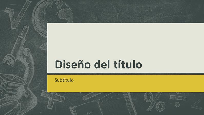 Presentación de temas educativos, diseño con ilustraciones en una pizarra (pantalla panorámica)