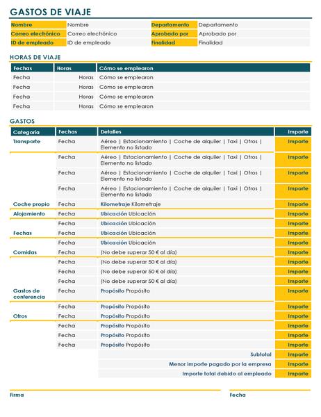 Formulario de informe de gastos de viajes