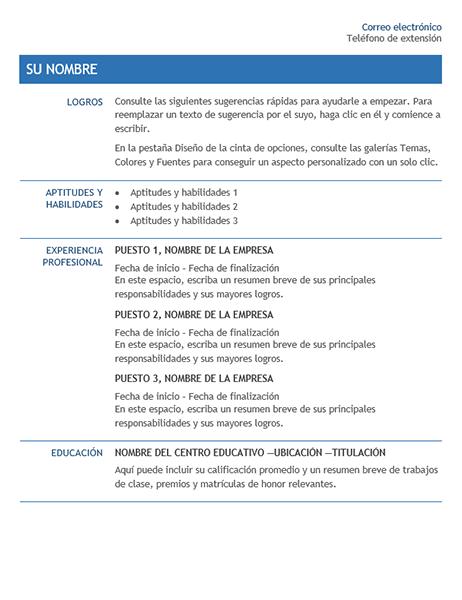 Currículum vítae para transferencia interna de la empresa