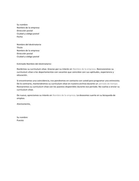 Carta para solicitante de empleo para confirmar la recepción