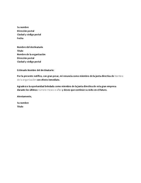 Carta de renuncia de la junta directiva