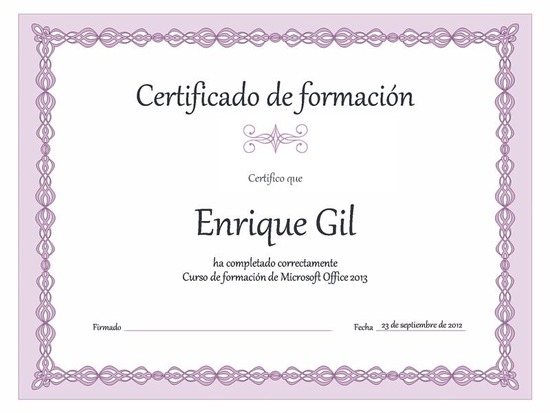 Certificado de formación (diseño con cadena púrpura)