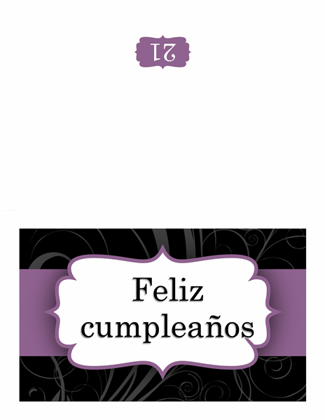 Tarjeta de felicitación (diseño con cinta púrpura)