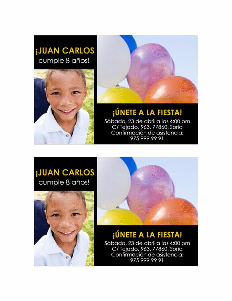 Invitación a una fiesta (diseño en amarillo sobre negro, con dos fotos)
