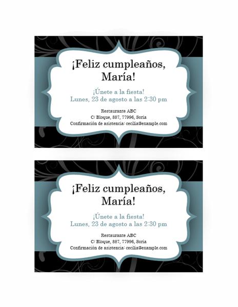 Invitación a una fiesta (diseño con cinta azul)