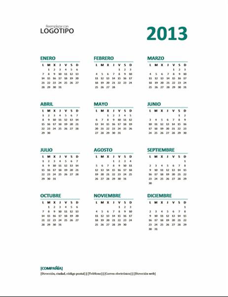 Calendario anual de 2013 (formato L-D)