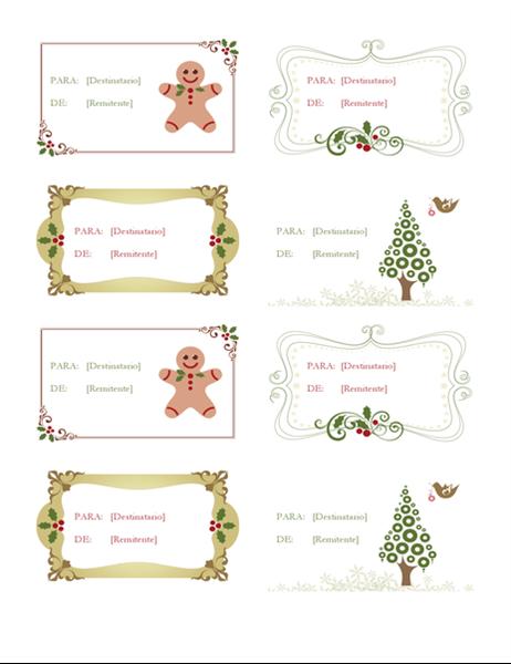 Etiquetas de regalo (diseño de festividad retro, 8 por página)