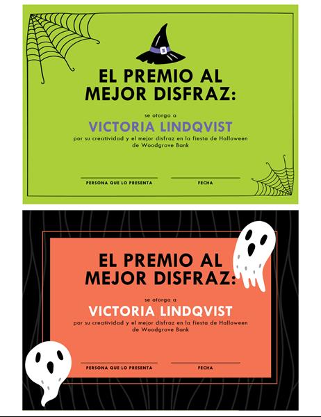 Premio para disfraz de Halloween