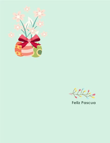 Tarjeta de pascua (con flores, pliegue doble)
